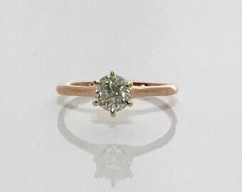 Yellow Gold Diamond Solitaire Ring, Diamond Engagement Ring, Old European Cut Diamond Ring, Vintage Engagement Ring