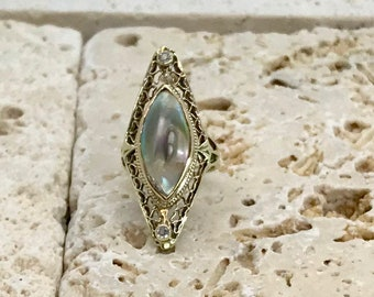 Yellow Gold Filigree Mother of Pearl and Diamond Ring, Vintage Mother of Pearl Ring, Mother of Pearl and Diamond Ring