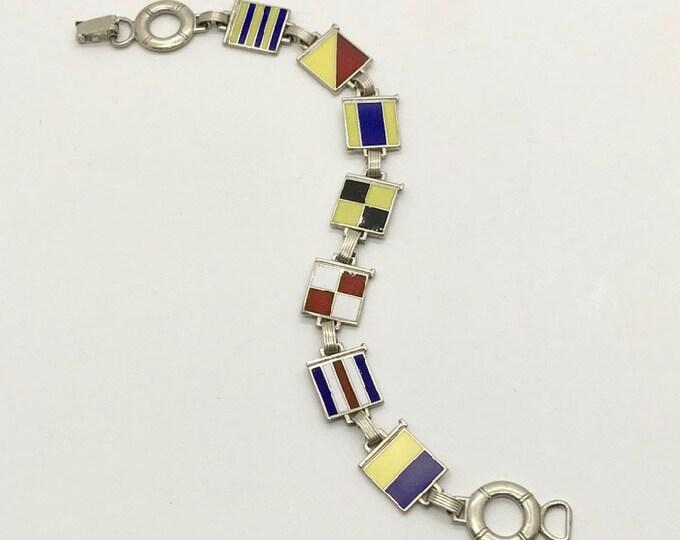 Vintage Nautical Bracelet, Signal Flag Bracelet, Sterling Silver Enamel Bracelet, Maritime Bracelet, Enamel Maritime Bracelet