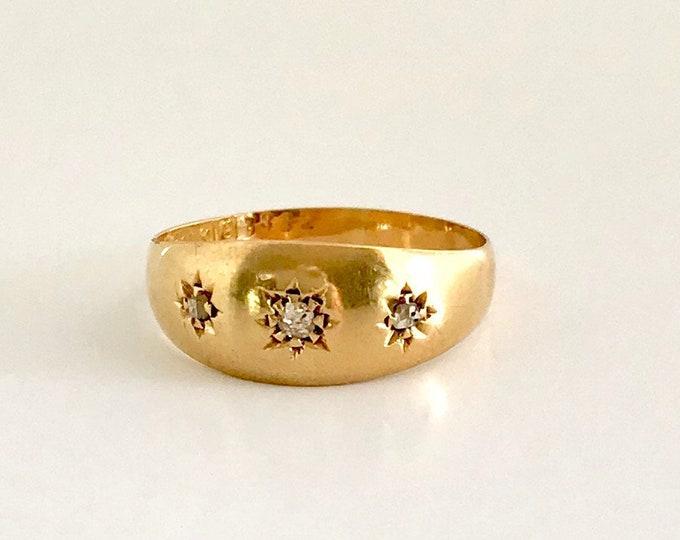 Victorian Diamond Band Ring, Hallmarked Ring, English Ring, 18 Karat Yellow Gold Ring, Diamond Ring, Antique Ring