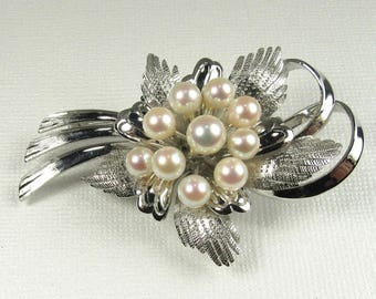 Sterling Silver Cultured Pearl Free Form Pin, Pearl Pin, Silver Pearl Pin, Sterling Pearl Pin, Free Form Pin, Vintage Sterling Pearl Pin