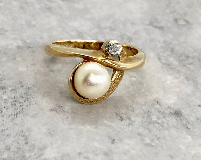 Yellow Gold Pearl and Diamond Ring, Vintage Pearl Ring, June Birthstone, Birthstone Ring