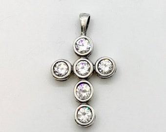Sterling Silver Cubic Zirconia Cross, Sterling Cross, Cross Pendant