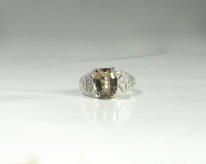 Andalusite and Diamond Ring; White Gold Andalusite and Diamond Ring; Right Hand Ring; Poor Man's Alexandrite; Filigree Type Ring