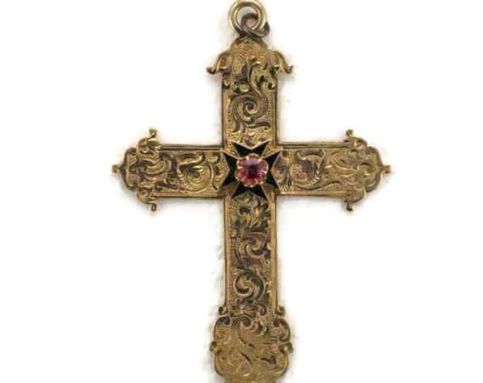 Victorian 14 Karat Yellow Gold Hand Engraved Cross, Vintage Garnet Cross, Cross with Garnet and Black Enamel, Victorian Engraved Cross
