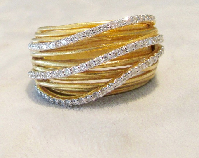 "Yellow Gold Diamond 3 Dimensional ""Wire"" Ring; Diamond Swirl Ring; Diamond Wire Ring; Diamond Band Ring; Alternative Wedding Band"