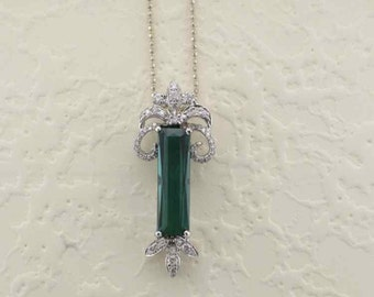 White Gold Green Tourmaline and Diamond Pendant, Green Tourmaline, Green Tourmaline and Diamond Pendant, Diamond Pendant. Tourmaline