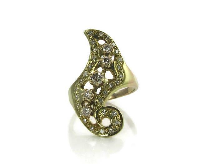 Artisan Made Free Form Diamond Ring; Hand Crafted Diamond Ring; Cocktail Ring Diamond Cocktail Ring; Diamond Dinner Ring Free Form Ring