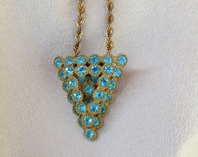 Fun and Fabulous Shoe Buckle Pendant; Blue Rhinestone Pendant; Rhinestone Necklace;  Shoe Buckle; Repurposed Jewelry; Up Cycled Jewelry