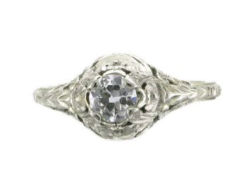 Old European Cut Diamond Engagement Ring; Diamond Filigree Engagement Ring; Diamond Wedding Ring; Diamond Filigree Ring; Promise Ring