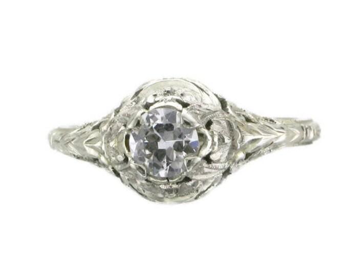 Old European Cut Diamond Engagement Ring; Diamond Filigree Engagement Ring; Diamond Wedding Ring; Diamond Filigree Ring; Promise Ring