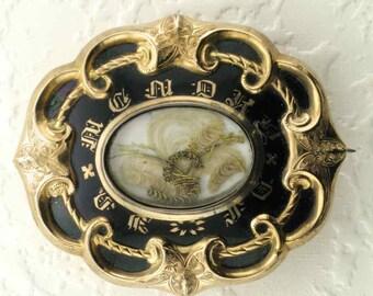 Memorial Pin, Black Enamel Pin, Hair Pin, Black Enamel Memorial Hair Pin, Victorian Memorial Pin, Victorian Mourning Pin, Mourning Jewelry