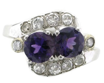 Ladies 14 Karat White Gold Diamond and Amethyst Cocktail Ring