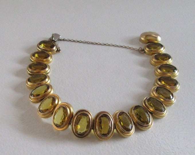 Gold Tone and Glass Bracelet, Yellowish Brown Glass Link Bracelet, Gold Tone Link Bracelet, Vintage Link Bracelet