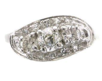 "Ladies 14 Karat White Gold Diamond Cocktail Ring with Arthritic ""Balls"" in Shank"