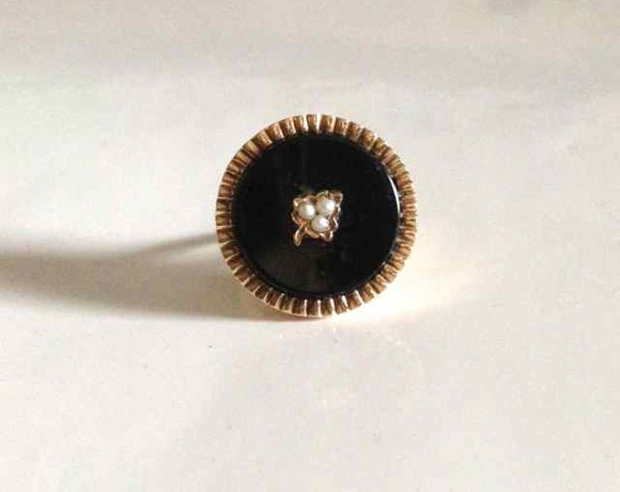Black Onyx with Seed Pearl Accent Ring in 14 Karat Yellow Gold Edwardian Period