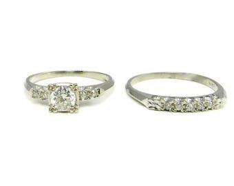 White Gold Vintage Wedding Set, Wedding Set, Vintage Wedding Set, Wedding Ring, Engagement Ring, White Gold Wedding Set, Bridal Set