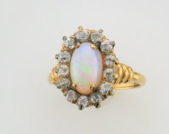 14 Karat Yellow Gold Diamond and Opal Ring from the 1920's