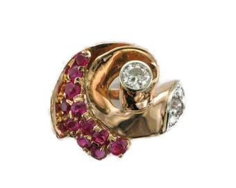 Rose Gold Diamond and Ruby Ring, Art Deco Ruby Ring, Retro Ruby Ring, Antique Rose Gold Diamond and Ruby Ring, Art Deco Diamond Ring