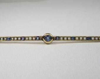 Yellow Gold Sapphire and Seed Pearl Bar Pin; Antique Bar Pin; Pearl Pin; Natural Sapphire Pin;  Gold Bar Pin; 1920's Bar Pin