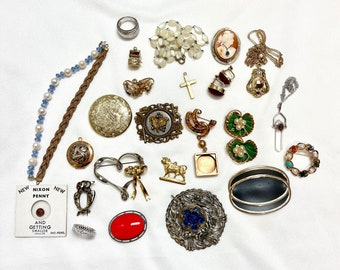 Lot of Jewelry Bits ad Pieces, Vintage Parts of Jewelry, Fresh Water Pearls, Sterling Jewelry Parts, Gold Filled Jewelry Parts
