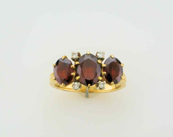 Yellow Gold Garnet and Diamond Estate Ring; Straight Line Ring; Garnet Ring Vintage Garnet Ring; Stacking Ring