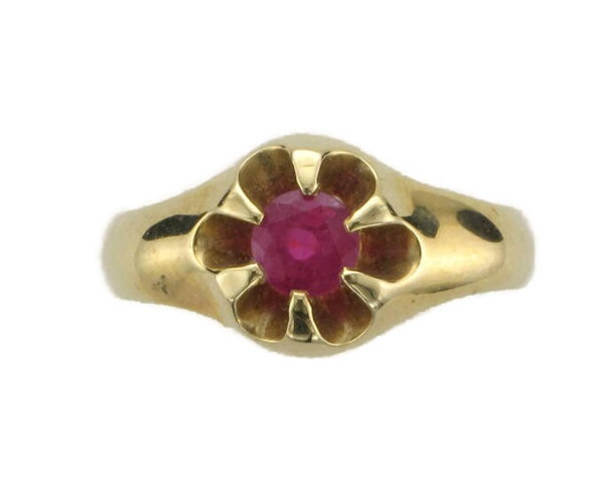 Yellow Gold Ruby Belcher Style Ring, Antique Ruby Ring, July Birthstone Ring