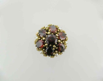 Garnet Cluster Ring with Pearl Accents, Dome Ring, Cocktail Ring, 1970's Ring, Yellow Gold Vintage Garnet and Pearl Ring, Statement Ring