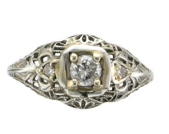 Ladies 18 Karat White Gold Diamond Filigree Edwardian Ring