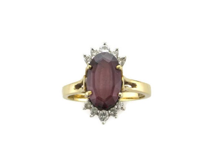 Yellow Gold Garnet and Diamond Cocktail Ring in 14 Karat; Garnet Ring; Garnet and Diamond Ring; Cocktail Ring