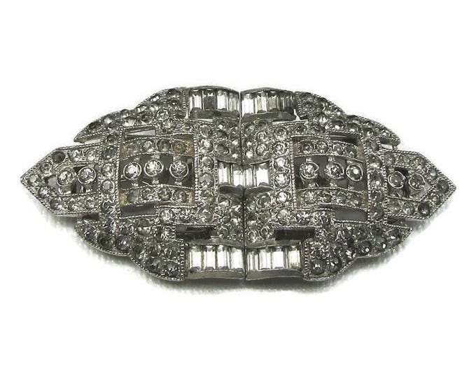 Vintage Duette Rhinestone Brooch, Art Deco Rhinestone Dress Clip, Dress Clip Pin, Rhinestone Dress Clip, Pin with Rhinestones