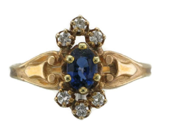 Yellow Gold Blue Sapphire and Diamond Victorian Ring; Victorian Sapphire Ring; Victorian Ring; Blue Sapphire Ring