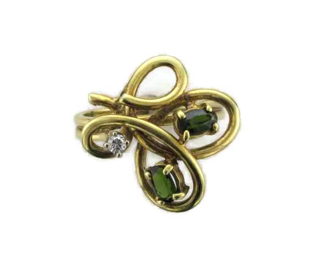 14 Karat Yellow Gold Green Sapphire and Diamond Free Form Ring