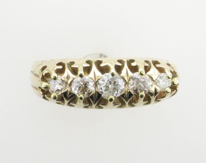 Victorian Diamond Straight Line Ring; Victorian Diamond Wedding Band; Diamond Wedding Band; Old European Cut Diamond Wedding Band