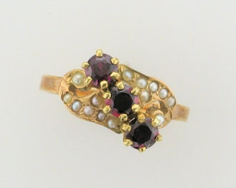 10 Karat Yellow Gold Victorian Garnet and Seed Pearl Ring