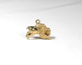 Buffalo Charm; Buffalo Pendant; Yellow Gold Buffalo Charm; Yellow Gold Buffalo Pendant; Vintage Buffalo Charm; Vintage Buffalo Pendant