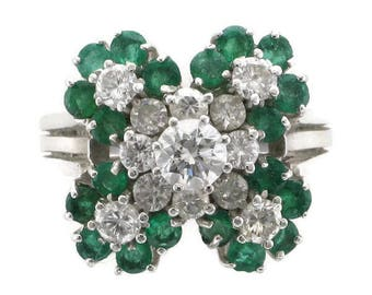 Ladies 18 Karat White Gold Diamond and Emerald Cocktail Ring