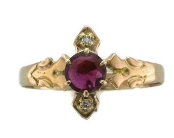 Ladies 10 Karat Yellow Gold Victorian Ruby and Diamond Ring