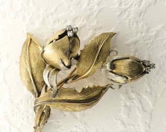 Gold Flower Pin/Brooch, Diamond Flower Pin, Vintage Flower Brooch, Vintage Diamond Flower Pin, Vintage Brooch, 1960's Pin