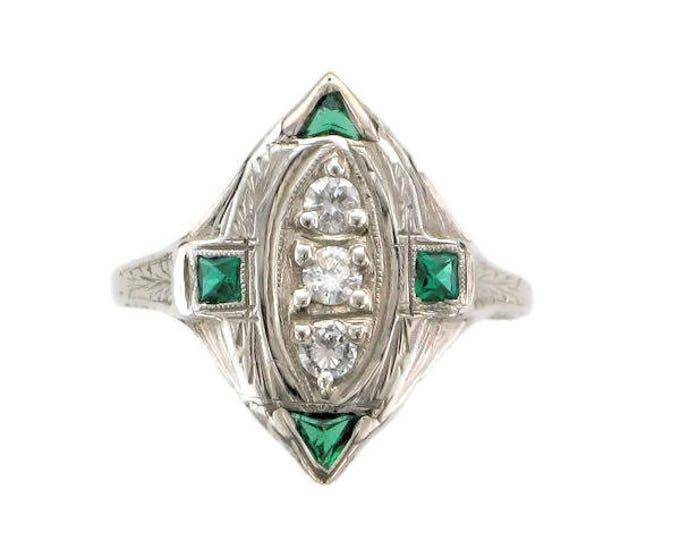 Diamond and Man Made Emerald Filigree Ring; Antique Diamond and Emerald Ring; Vintage Diamond and Emerald Ring; Edwardian Diamond Ring