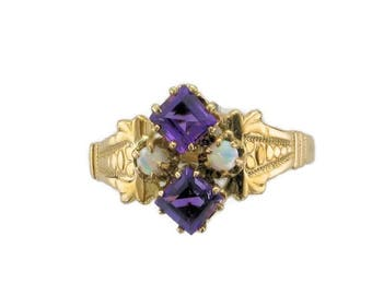 14 Karat Yellow Gold Amethyst and Opal Victorian Ring, Antique Amethyst Ring, Amethyst and Opal, February Birthstone, Birthstone Ring