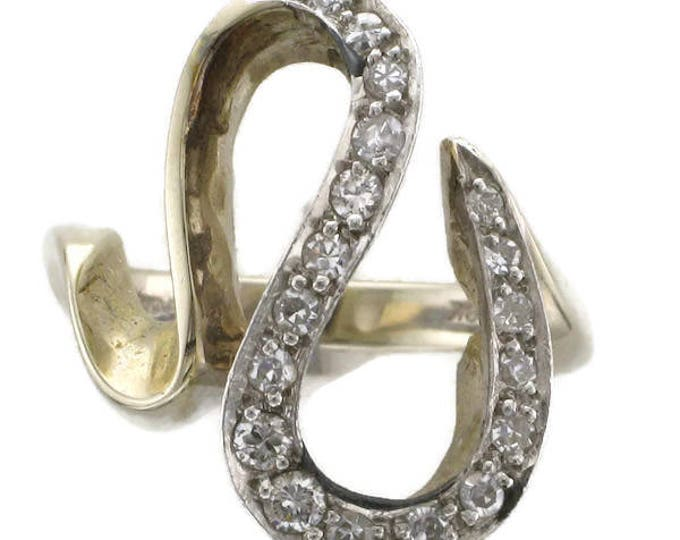 Platinum over 18 Karat White Gold Diamond Swirl Ring