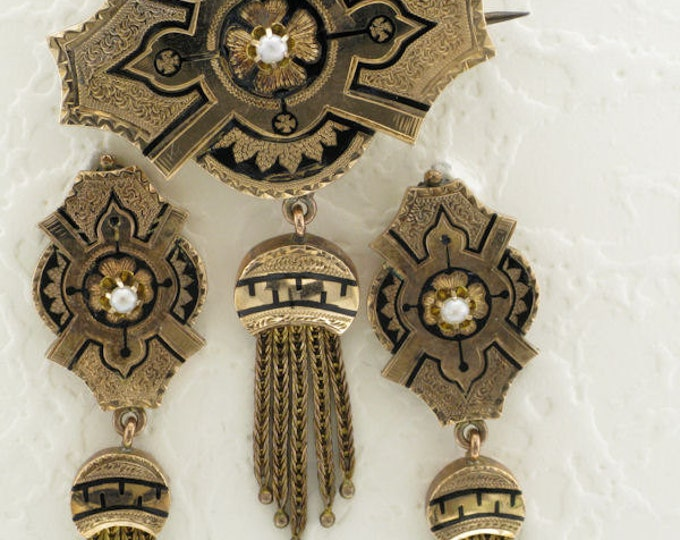 Yellow Gold Victorian Pin and Earring Set with Black Enamel and Tassels, Exquisite Antique Pin and Earring Set