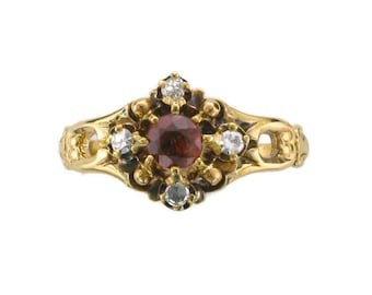 Victorian Garnet and Diamond Ring; Garnet Ring; Garnet and Diamond Ring