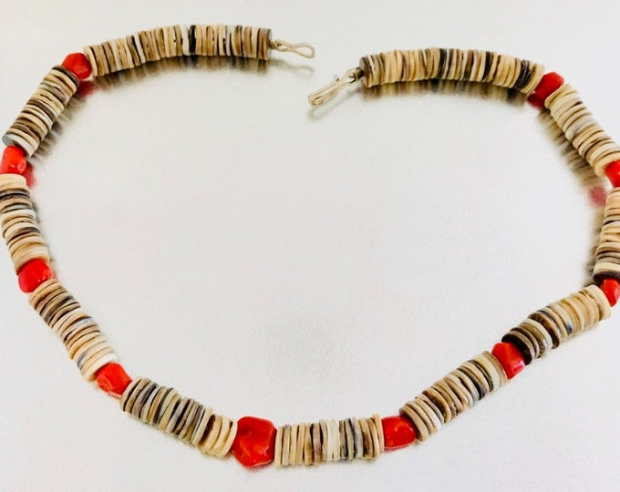 Heshi Necklace with Coral Accents, Coral Necklace, Sterling Silver Heshi Necklace with Coral Chunk Beads