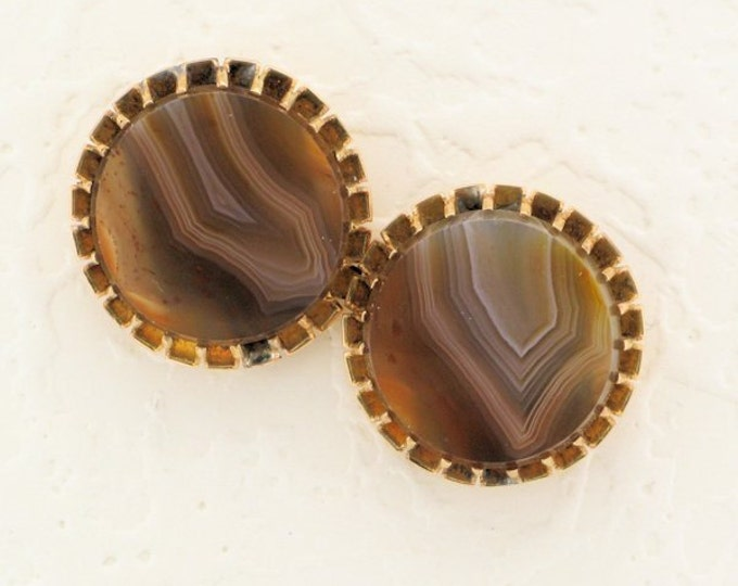 Agate Pierced Earrings (Converted from cuff-links); Banded Agate Earrings; Antique Agate Earrings; Repurposed Cufflinks; Recycled Cufflinks