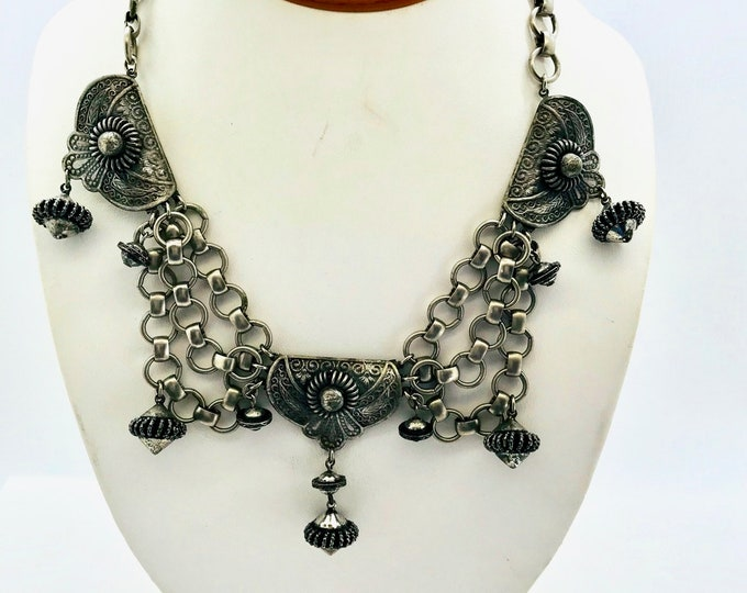Kandell and Marcus N.Y. Silver Tone Necklace, Vintage Necklace, Signed Necklace, Statement Necklace