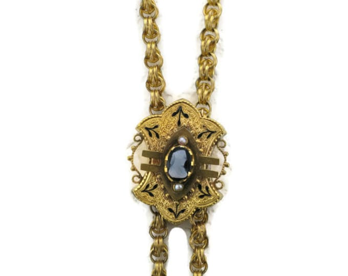 Ladies Yellow Gold Filled Watch Chain with Cameo Slide Victorian