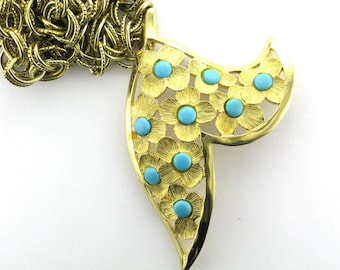 1960's Gold Tone Fun Necklace with Faux Turquoise; Flower Design Pendant; Faux Turquoise Pendant; Long Necklace; Great Necklace to Layer