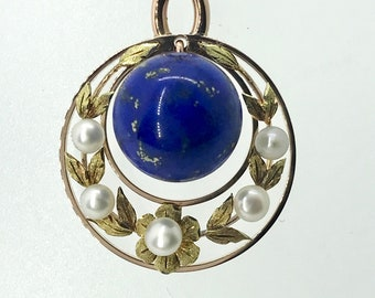 Yellow Gold Lapis Lazuli and Pearl Necklace, Vintage Lapis Pendant, Vintage Lapis and Pearl Necklace